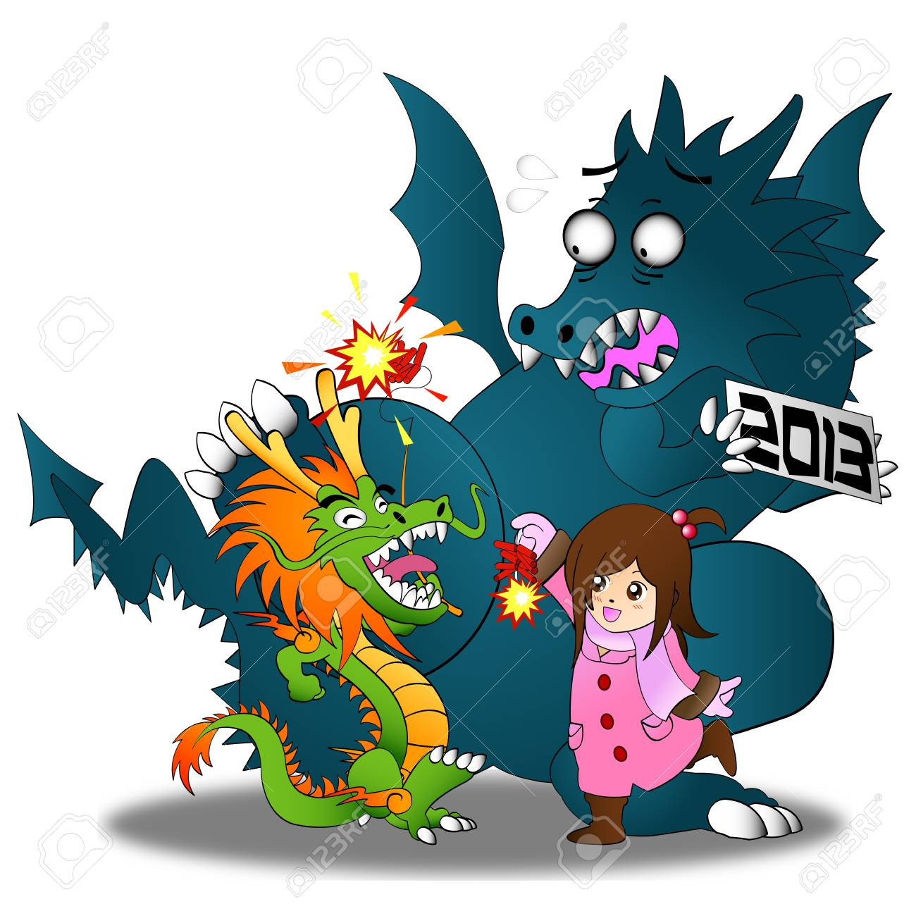 Happy Chinese New Year 2013!! Both Chinese and Western Dragon come to celebrate. Stock Vector - 17203091