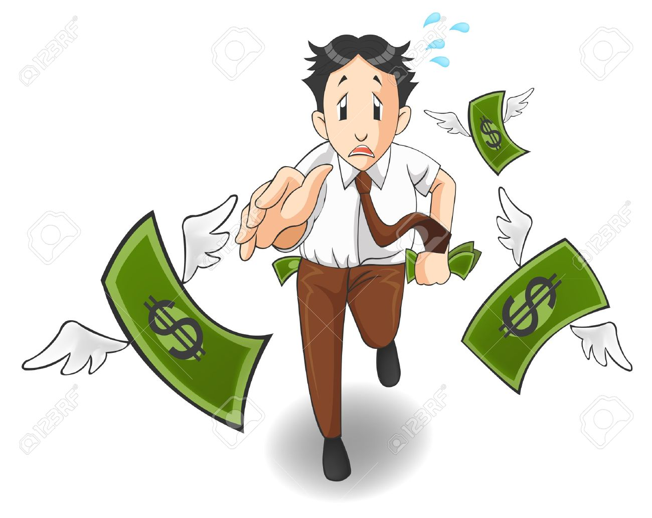 Money is flying away from the pocket. It is because of inflation, economic recession, or business loss? Stock Vector - 19702661