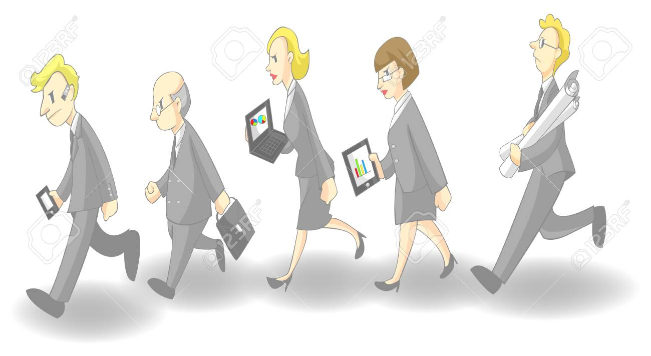 Row of busy businessmen and women, create by vector (grey suit version) Stock Vector - 19805421