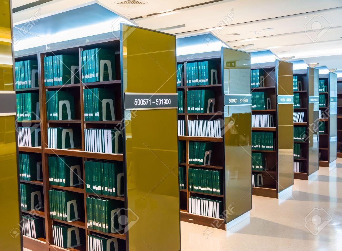 Library books shelf green.