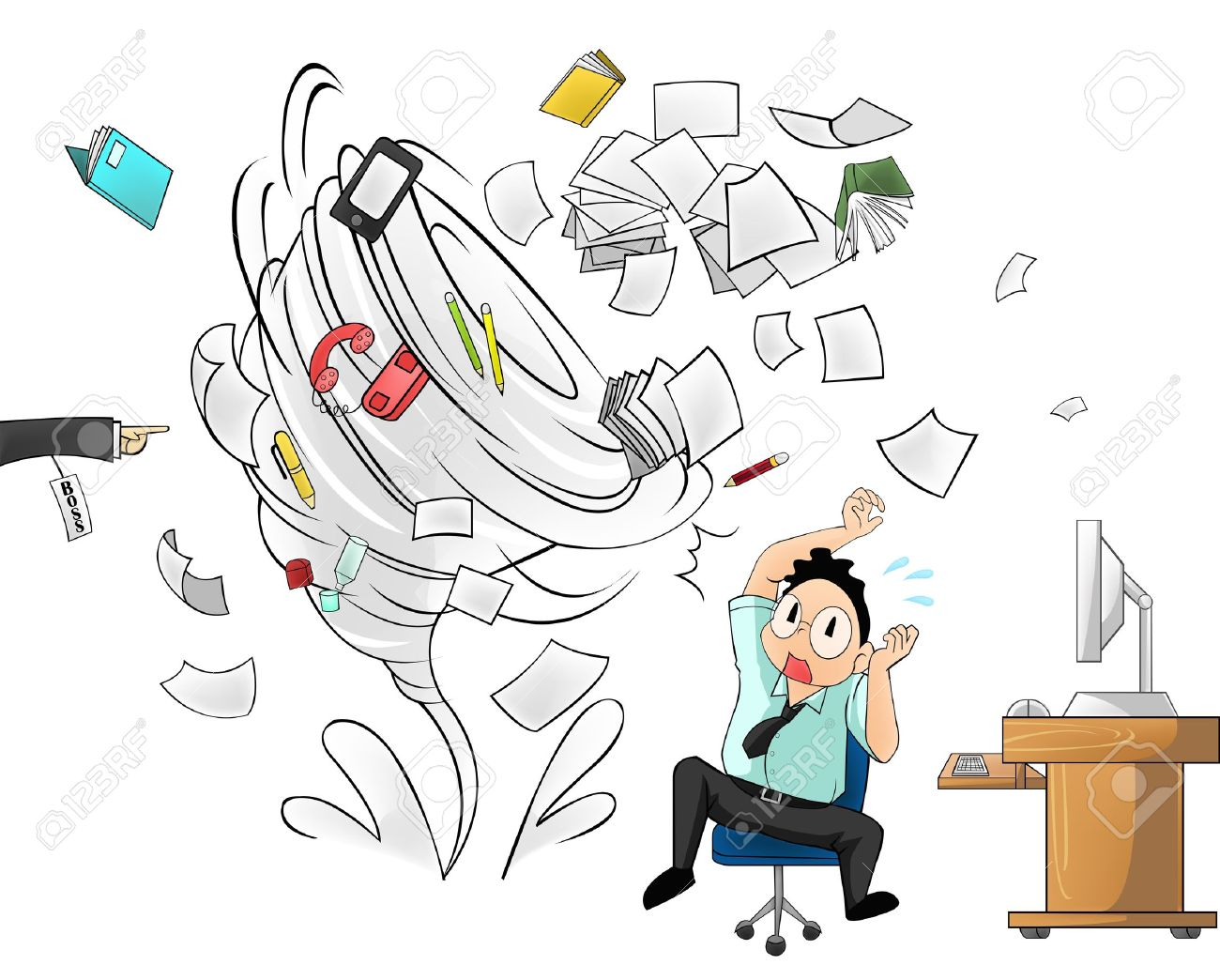 Hurricane of workload in the office - man version with boss order Stock Vector - 20681887