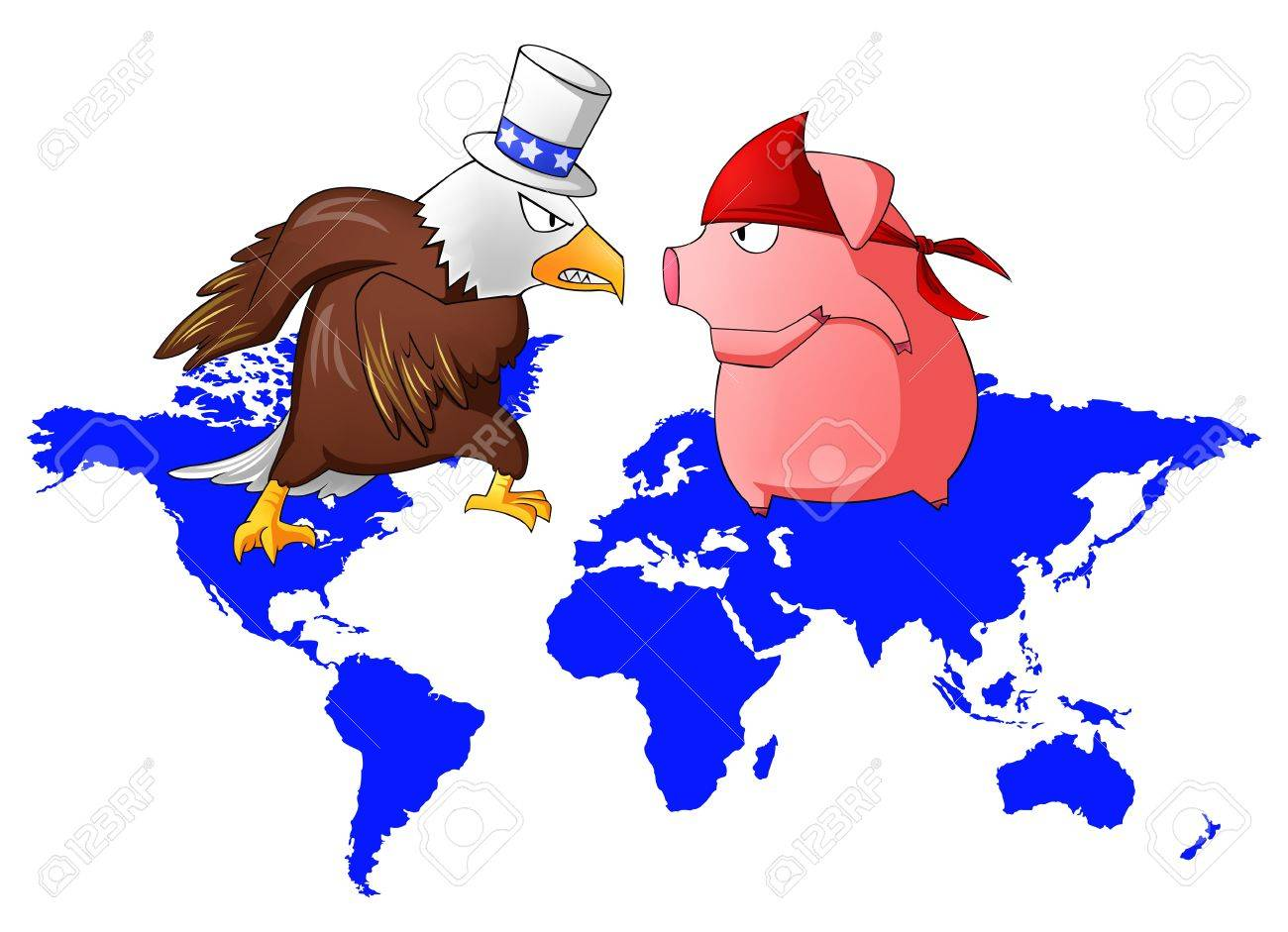 Giant eagle and red pig is fighting above the continent, create by vector Stock Vector - 20681934