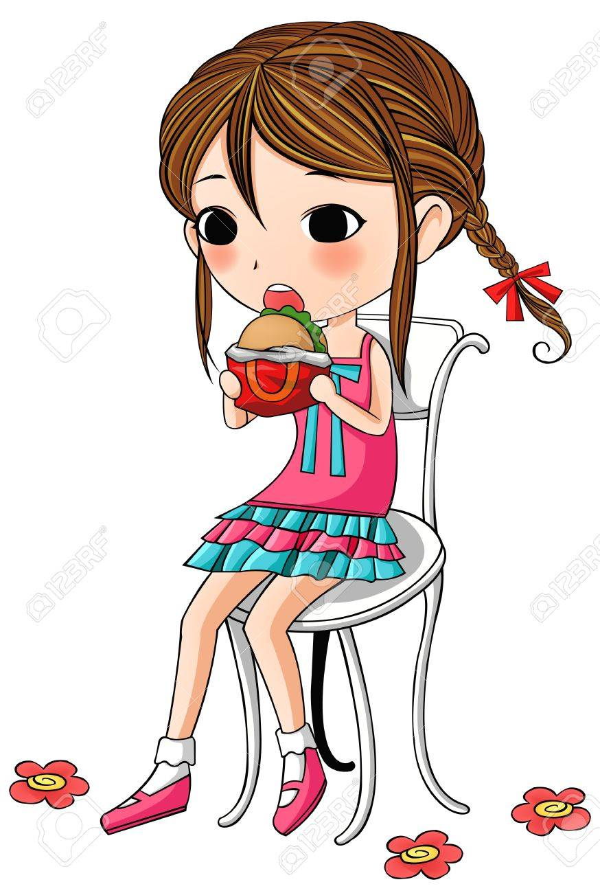 A cute stylish cartoon girl is sitting and having hamburger as her meal Stock Vector - 20943987