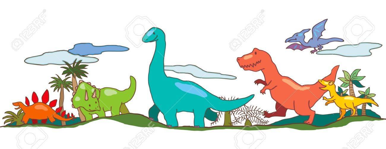 Mundo De Los Dinosaurios En Los Ninos La Imaginacion Ilustraciones Vectoriales Clip Art Vectorizado Libre De Derechos Image 21349701 Desde feroces terópodos como el tiranosaurio rex y el spinosaurus hasta enormes saurópodos como el diplodocus y el brachiosaurus. mundo de los dinosaurios en los ninos la imaginacion