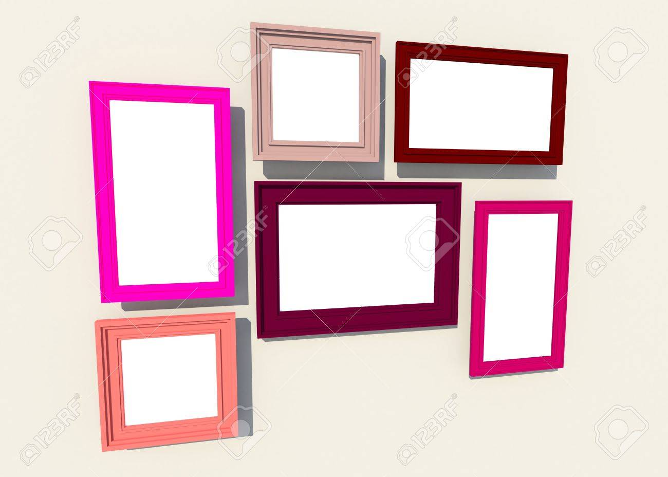 colorful square frames on the wall create by 3d stock photo 21492168