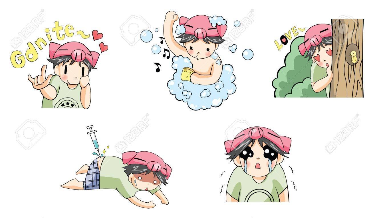 Piggy boy cartoon icon in various action set 2, create by vector Stock Vector - 21931427