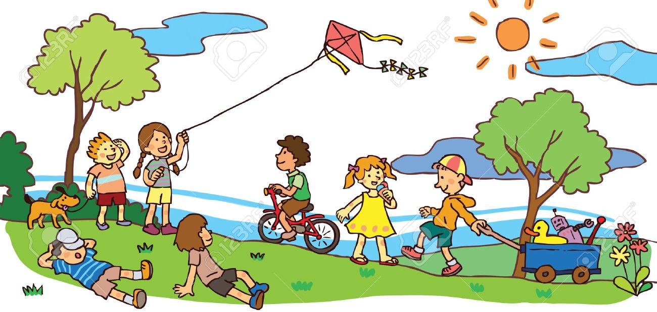 children having a good time in sunny summer landscape royalty free