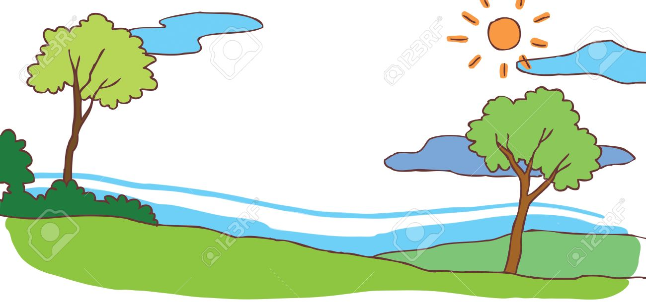 Child cartoon summer hill landscape background with green environment Stock Vector - 22062896