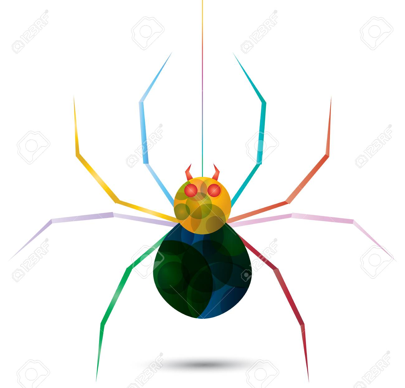 Colorful spider hanging from a web, create by vector Stock Vector - 23213270
