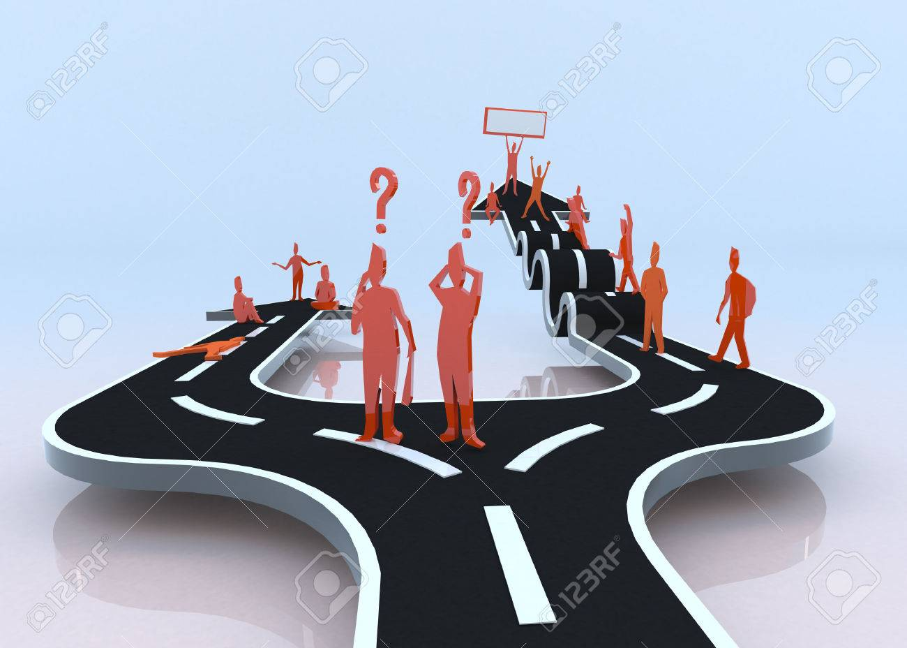 Which path will you choose  The laziness or the hardship   3D   The lazy path brings you nothing while the obstacle make progression and success in your life Stock Photo - 23497283