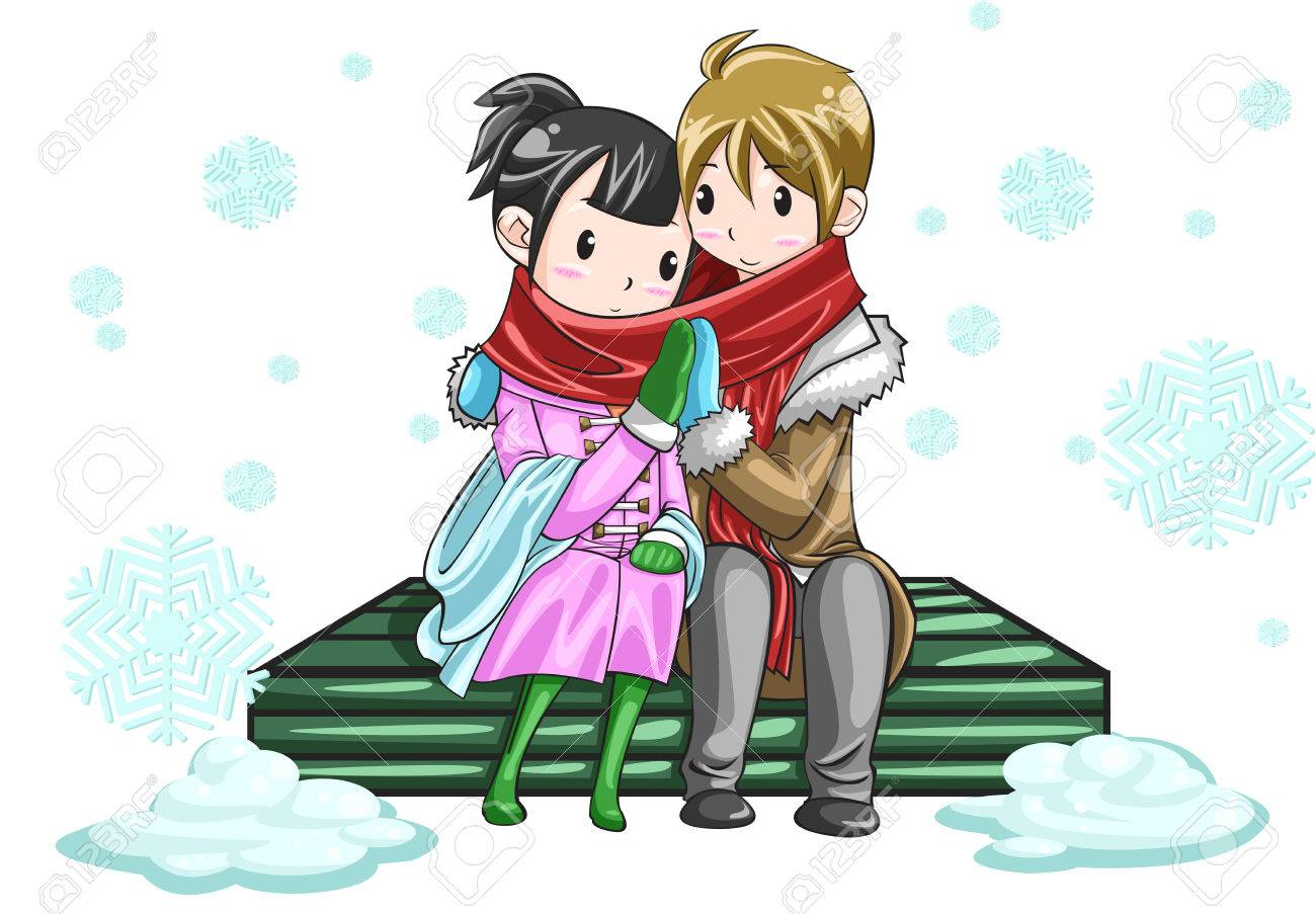 Cute couple sharing their warmth by hands in white snowy background, create by vector Stock Vector - 23497288