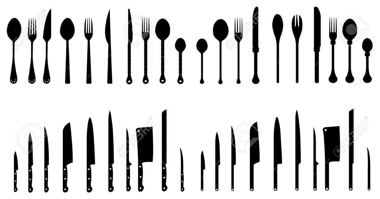Kitchen Utensils Silhouette Vector Free sets of silhouette kitchen tools 3, createvector royalty free