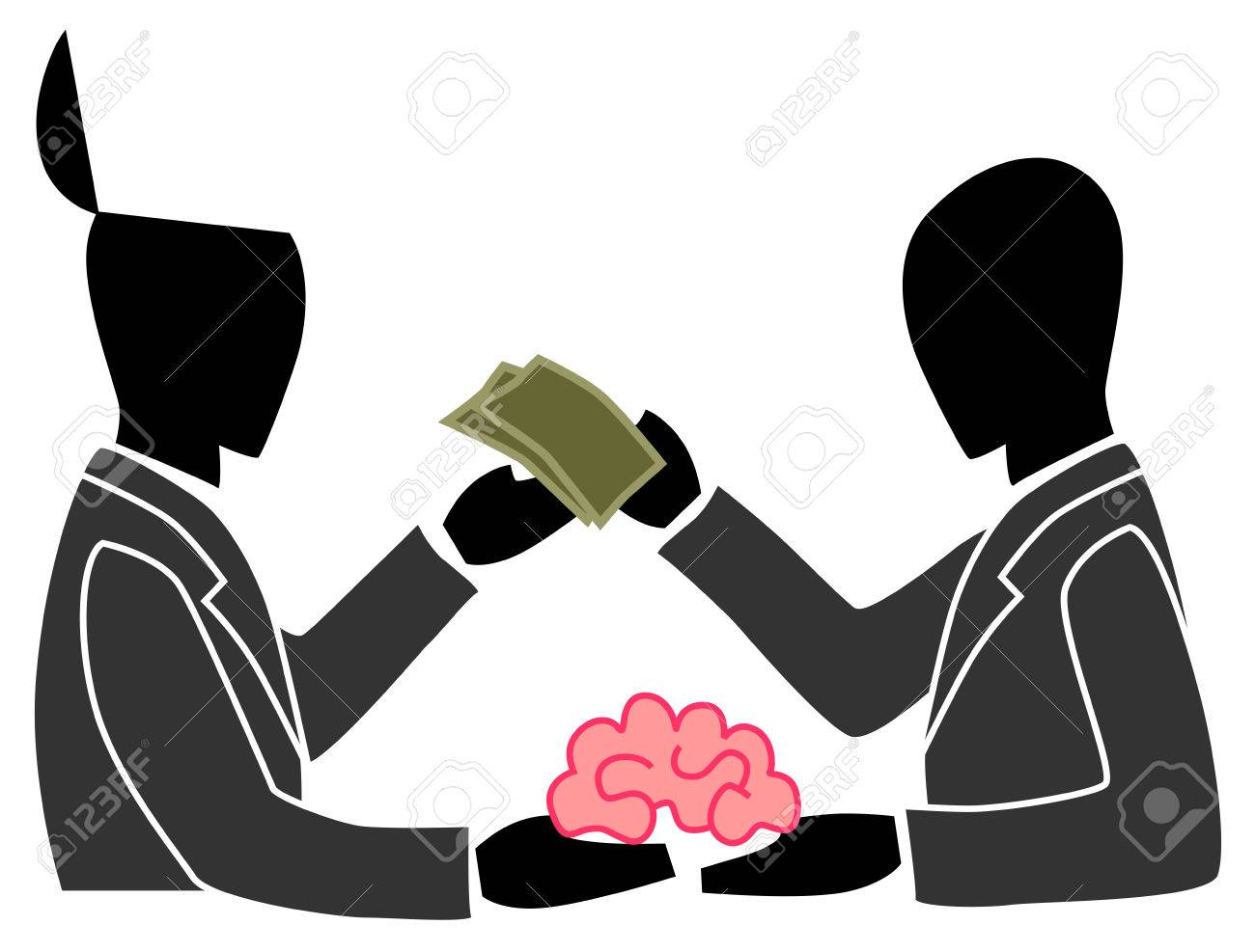 A person is selling his own brain to another person  This can be the concept of outsourcing or anything about creativity Stock Vector - 23895990