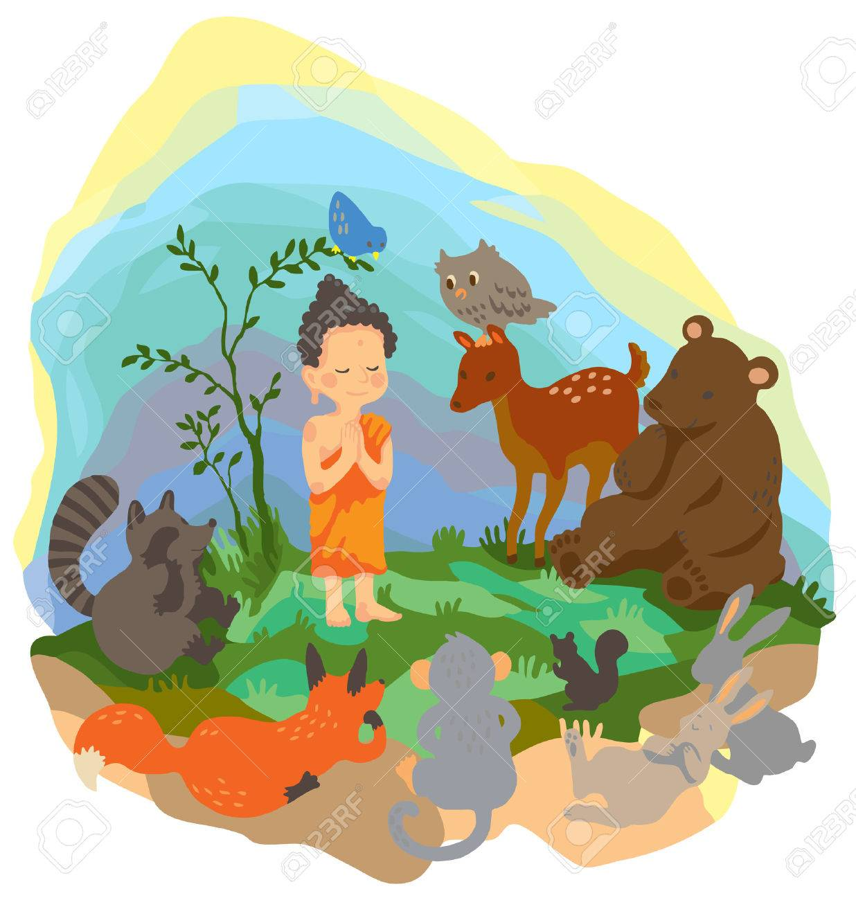 A little buddha is preaching truth to animals in the wood Stock Vector - 24953939