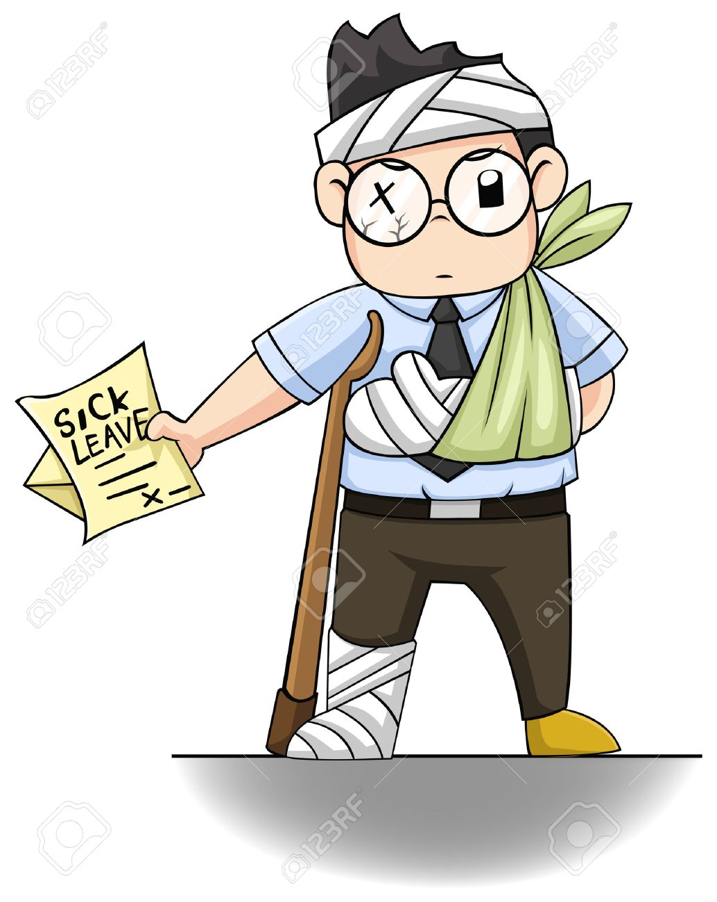 An office guy is handing a SICK LEAVE letter - 25318124