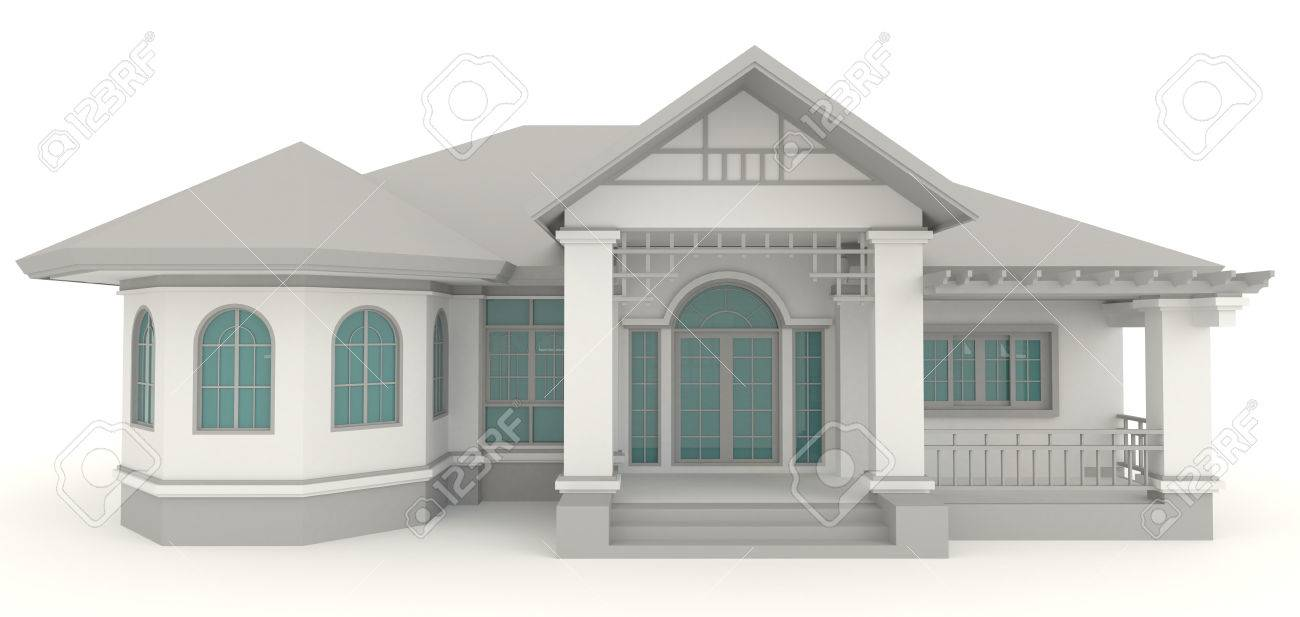 3D Retro House Architecture Exterior Design In White Background, Create By  3D Stock Photo