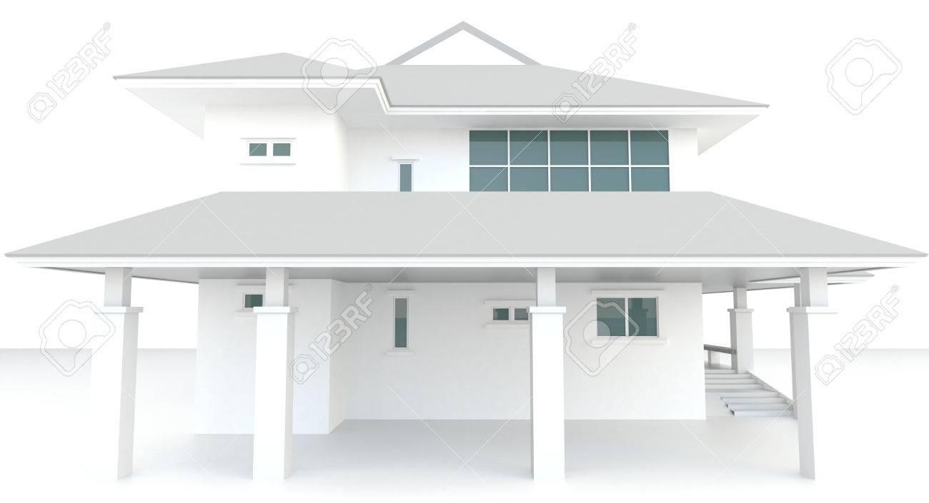 3D-weiße Haus Architektur Exterieur-Design In Weißem Hintergrund ...