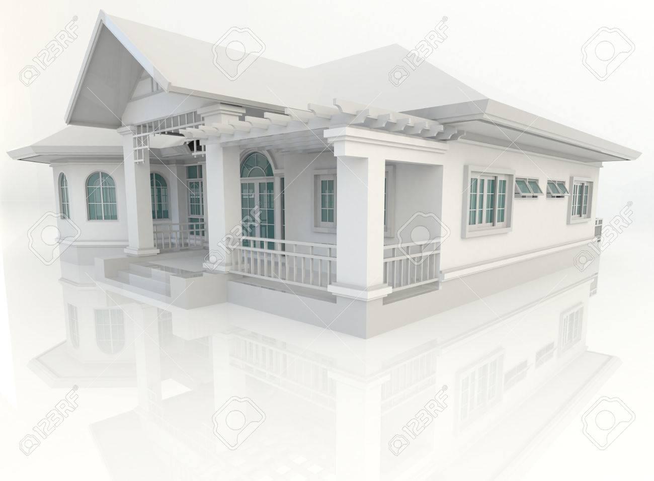 D vintage huis exterieur ontwerp met reflectie in wit creëren