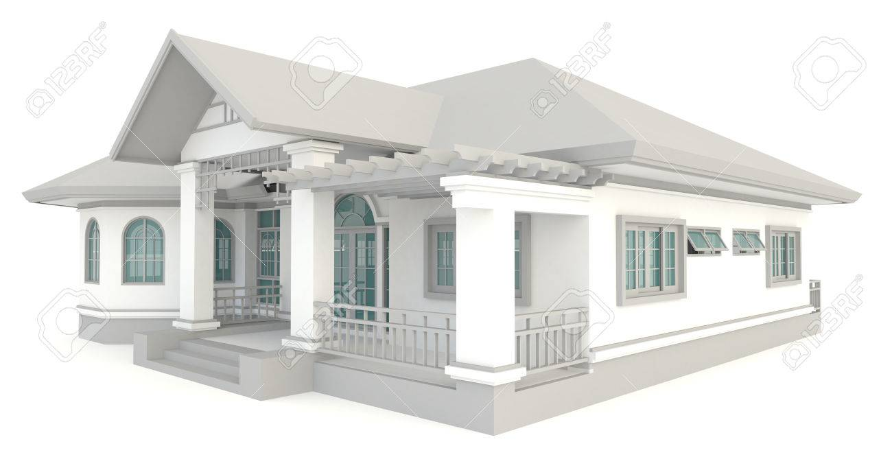 D vintage design huis exterieur in geïsoleerde achtergrond