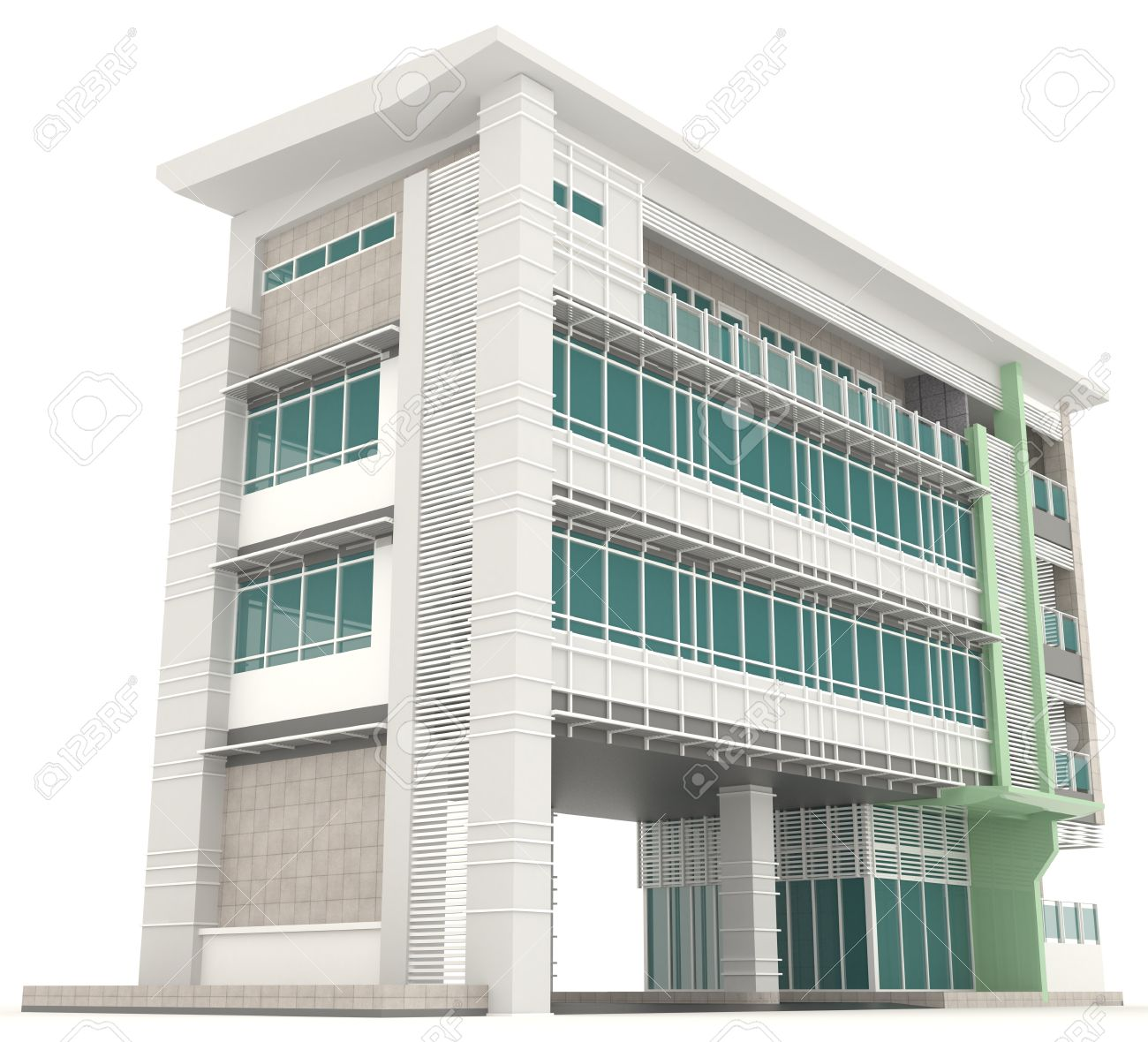 Side Of 3D Modern Office Building Architecture Exterior Design
