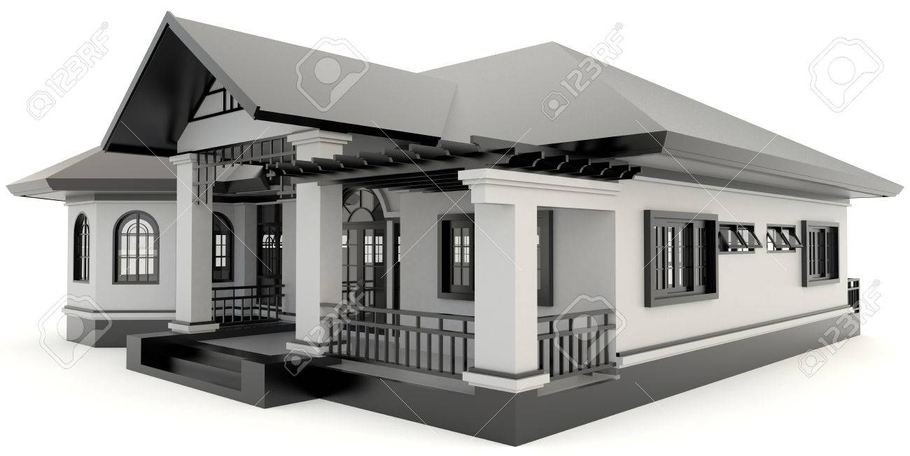 3D Black Vintage House Exterior Design In Isolated Background, Create By 3D  Stock Photo