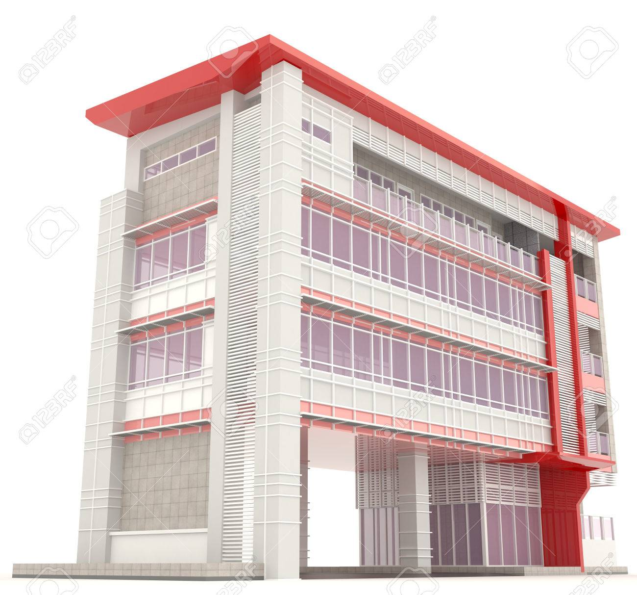 Side Of 3D Modern Office Building Architecture Exterior Design In White  Background 2, Create By