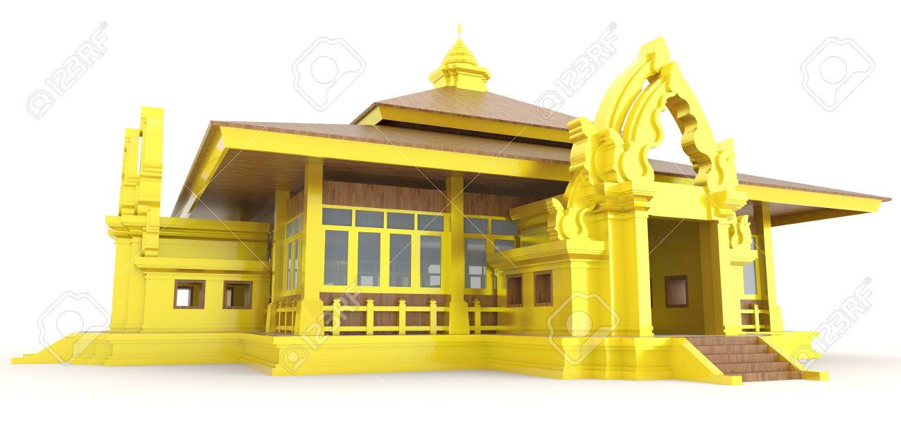 High Quality 3D Golden Cambodian Khmer Palace Exterior Design In Isolated Background,  Create By 3D Stock Photo