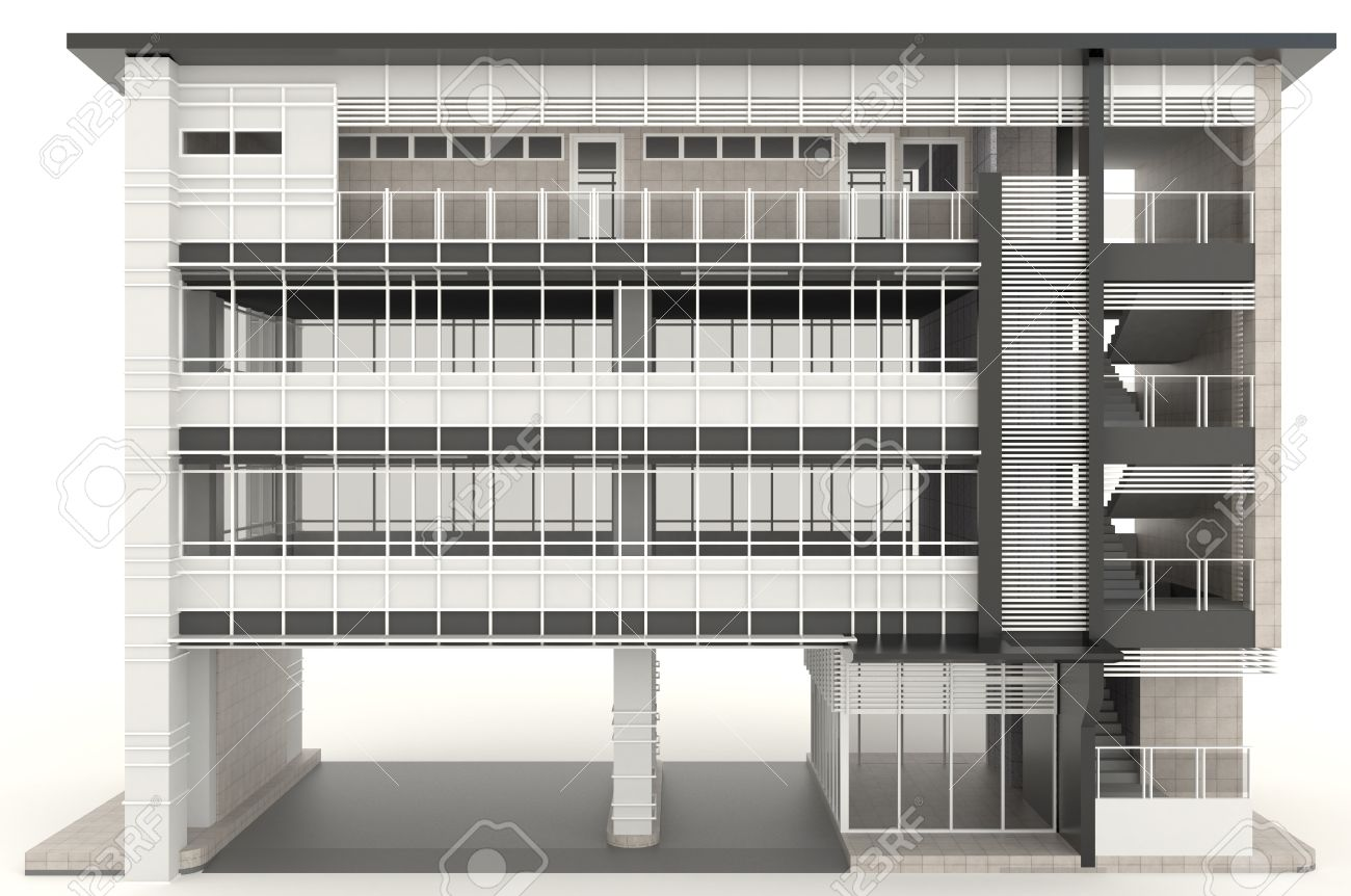3D Modernes Bürogebäude Architektur Exterieur-Design In Weißem ...