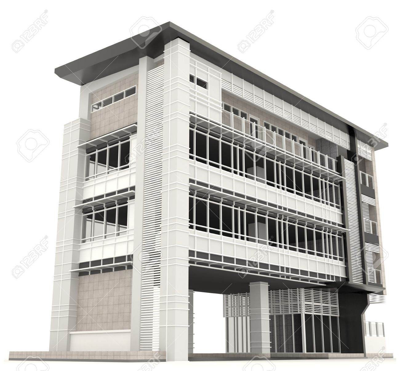 office exterior design. Side Of 3D Modern Office Building Architecture Exterior Design In White Background 2, Create By M