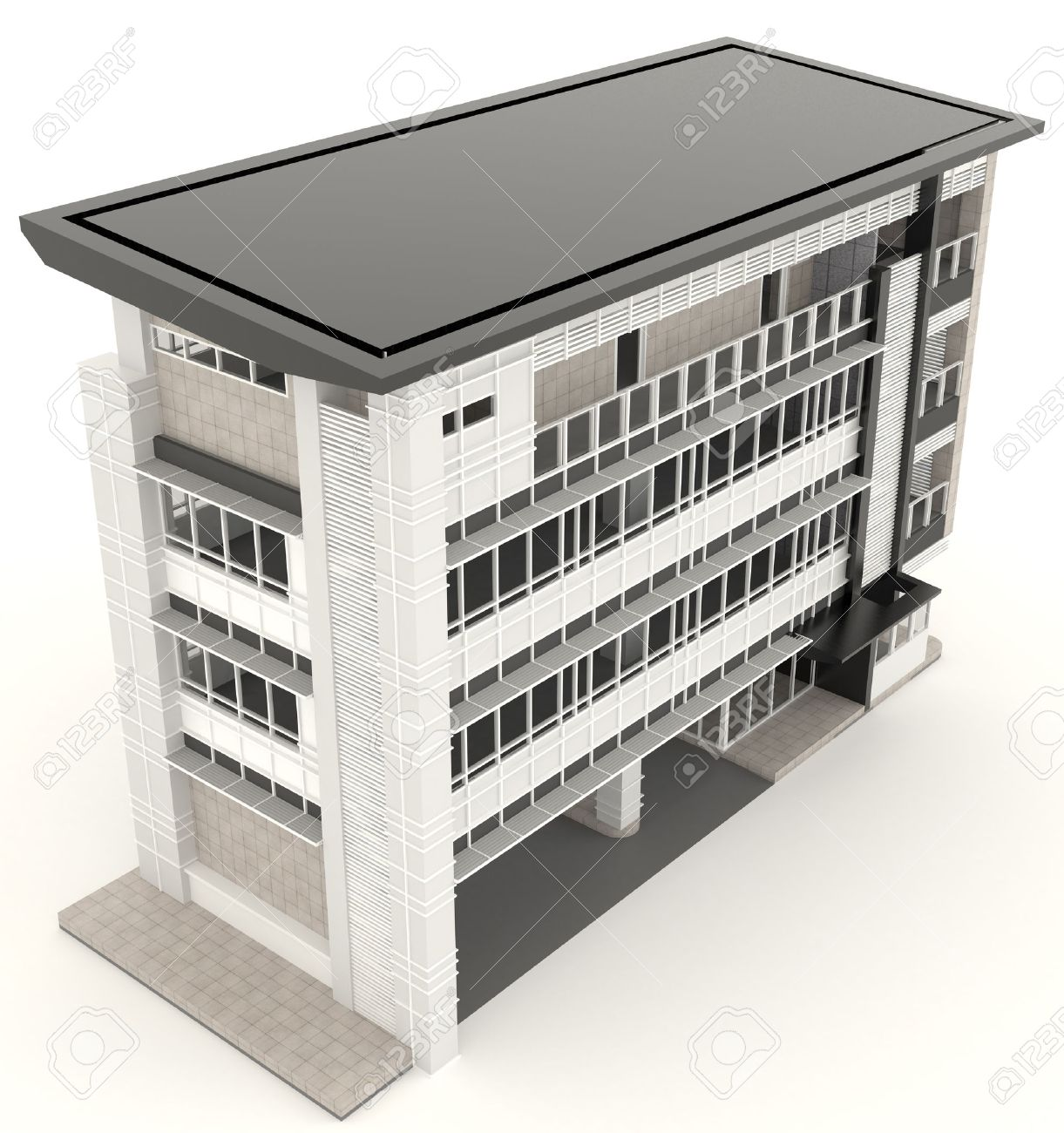 Stock Photo   Top Of 3D Modern Office Building Architecture Exterior Design  In White Background, Create By 3D