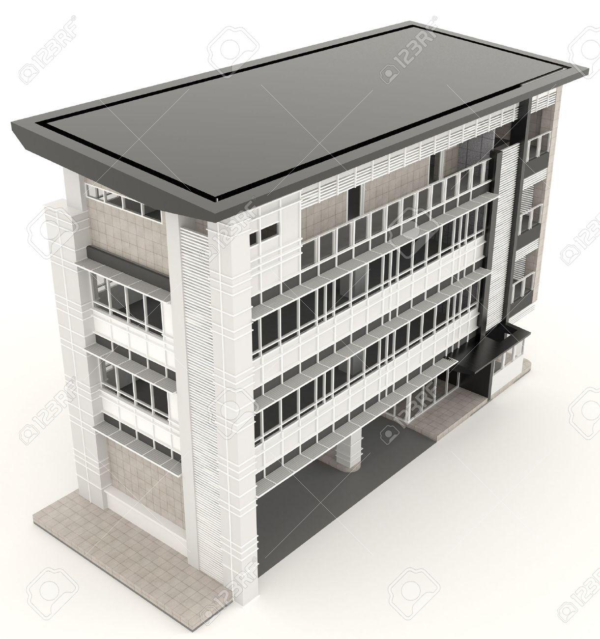 Standard Bild   Top Von 3D Modernes Bürogebäude Architektur Exterieur Design  In Weißem Hintergrund, Erstellen Von 3D