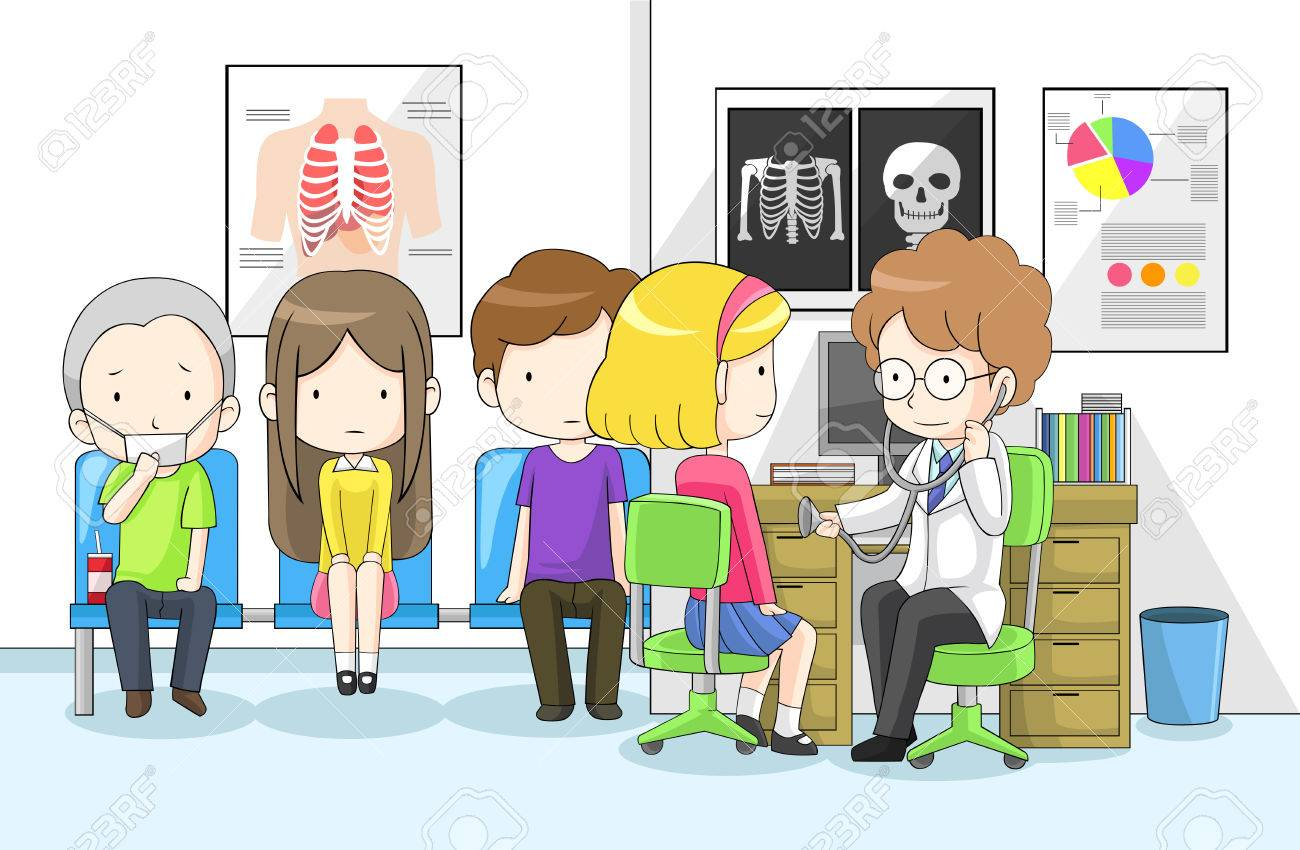 Doctor is examining group of children with stethoscope in hospital, create by vector Stock Vector - 26851186