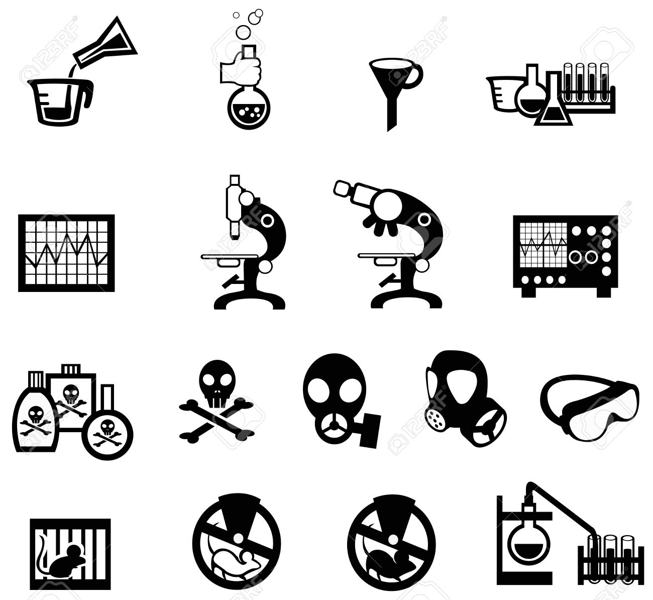 Silhouette science, chemistry, and engineering tool icon set 2, create by vector Stock Vector - 28327345