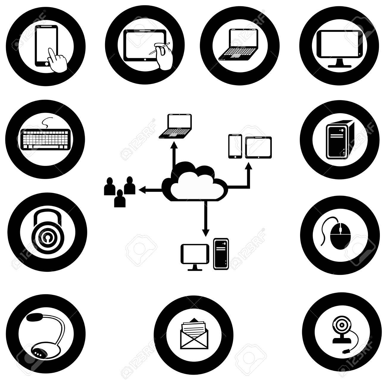 Various IT and network media icon and app collection Stock Vector - 29069469
