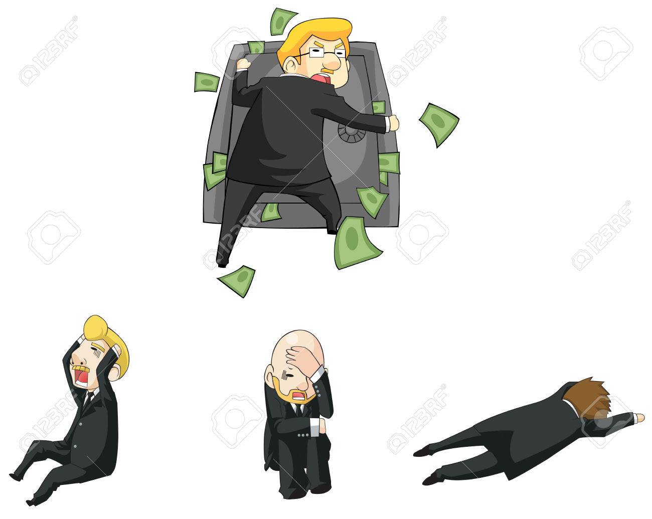 Businessman funny reaction in financial crisis situation cartoon icon, create by vector Stock Vector - 29782293