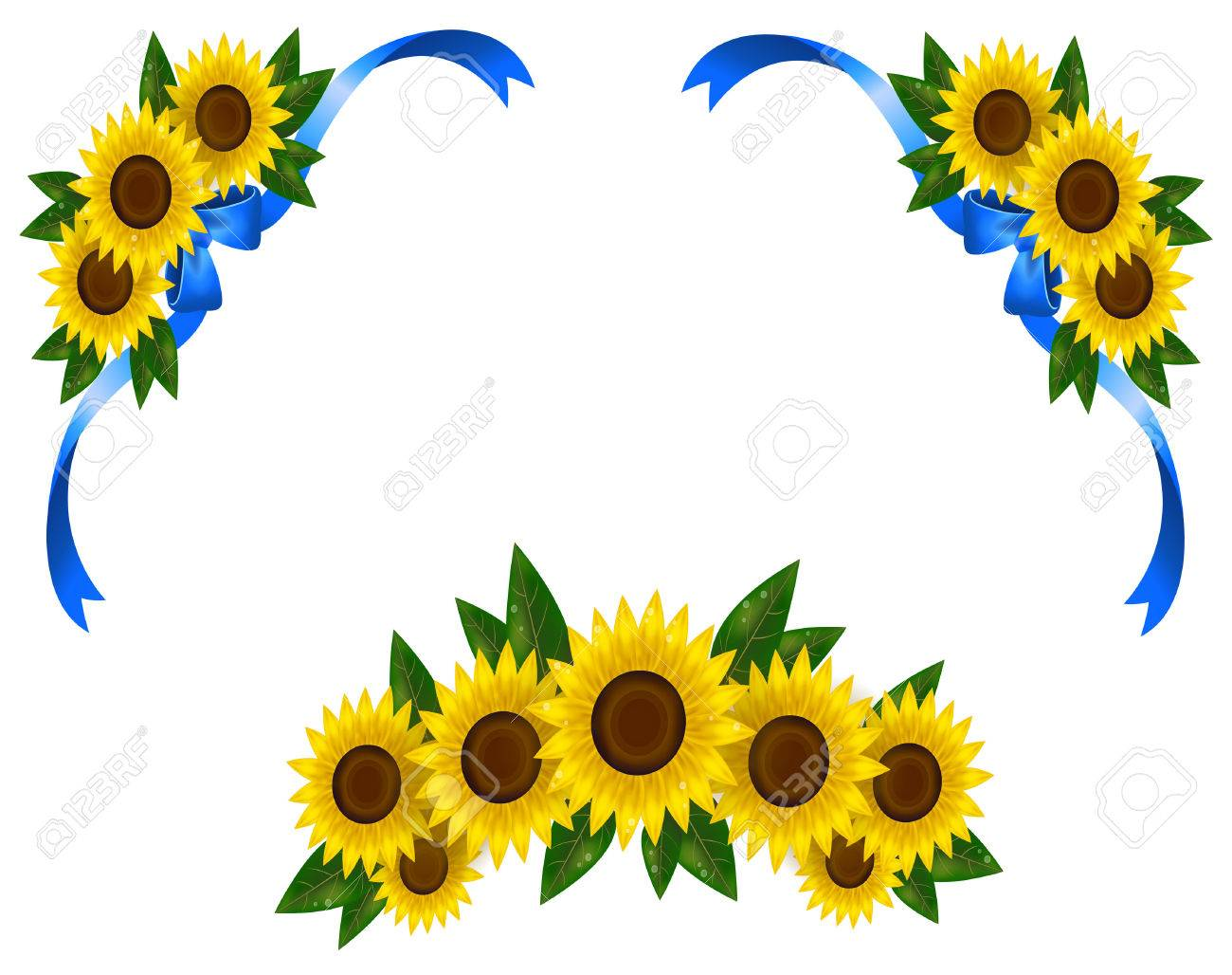 Sunflower Decoration Icon Border Ribbon, Create By Vector Royalty ...