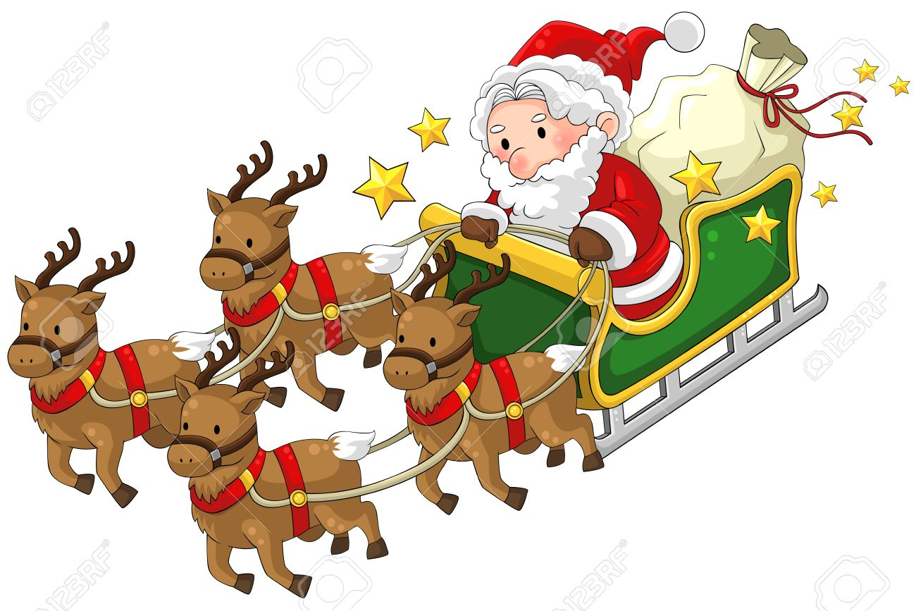 santa claus on a reindeer sleigh in christmas in white isolated