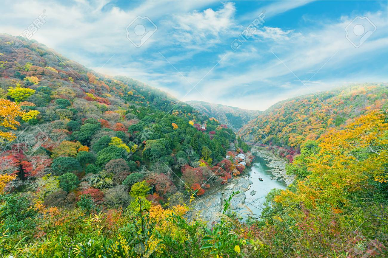Beautiful Valley With Seasonal Colorful Trees And Blue Sky Landscape ...