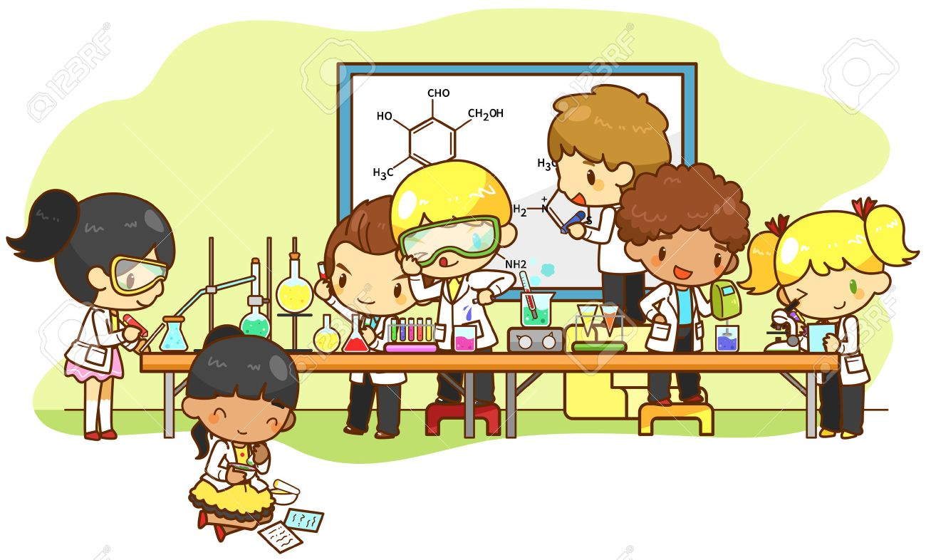Children are studying and working in the laboratory create by vector - 39904546