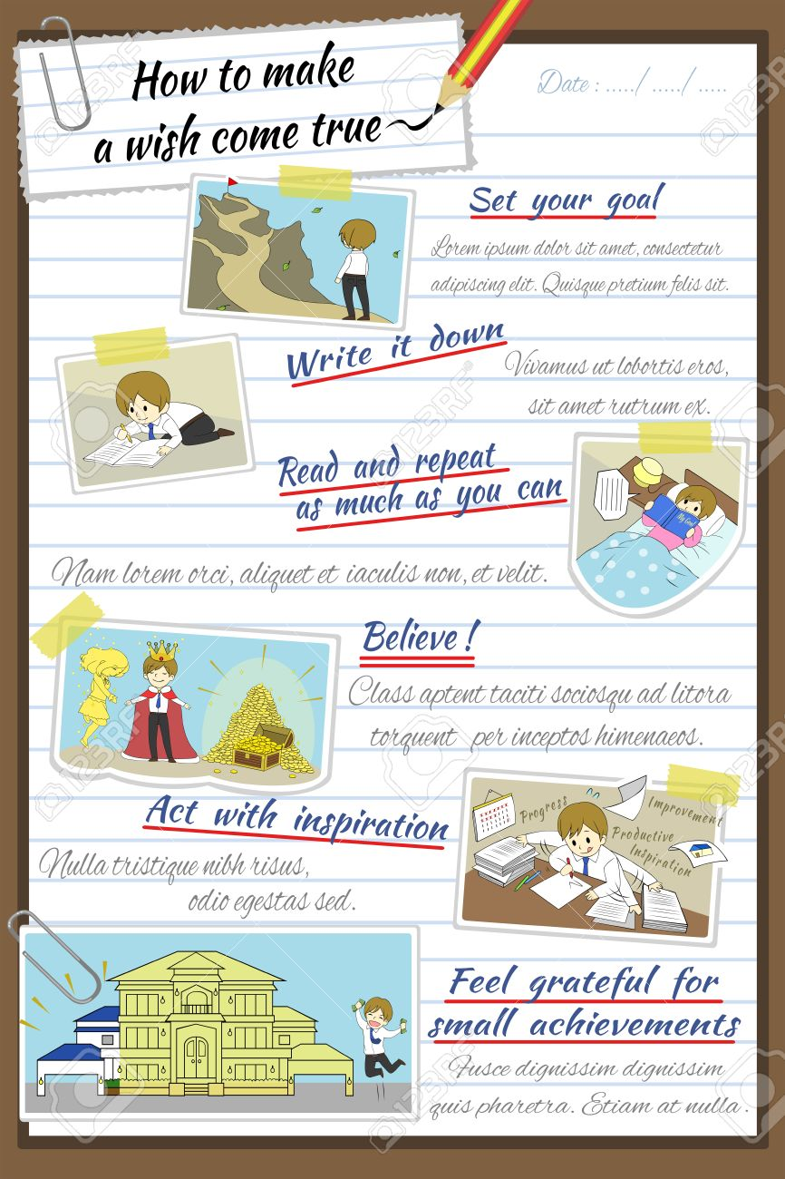 How To Make A Wish Come True Infographic Template Design In Notebook Paper  Background With Sample