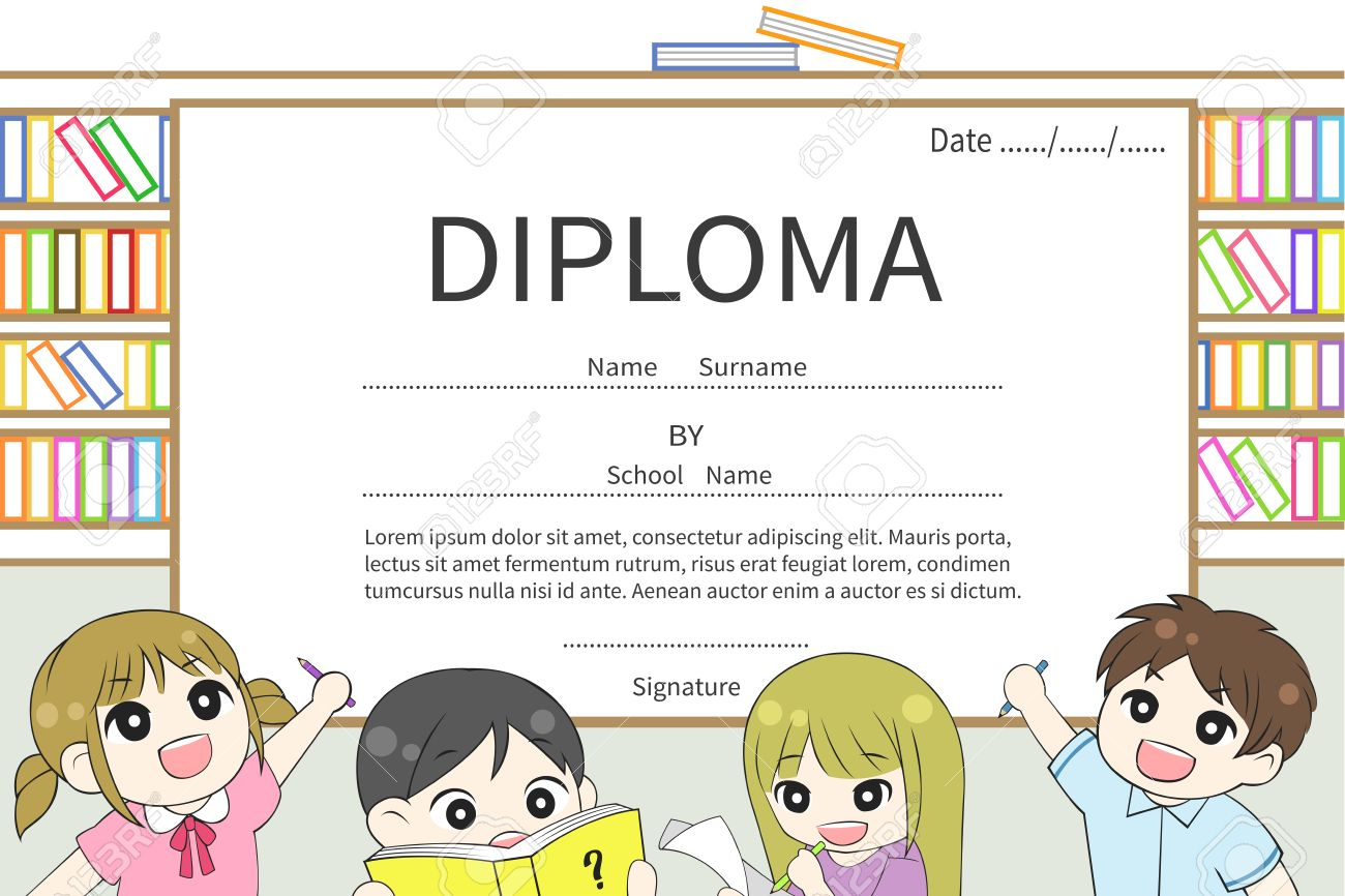 cartoon kindergarten and elementary school children diploma  cartoon kindergarten and elementary school children diploma certificate library background design template layout sample