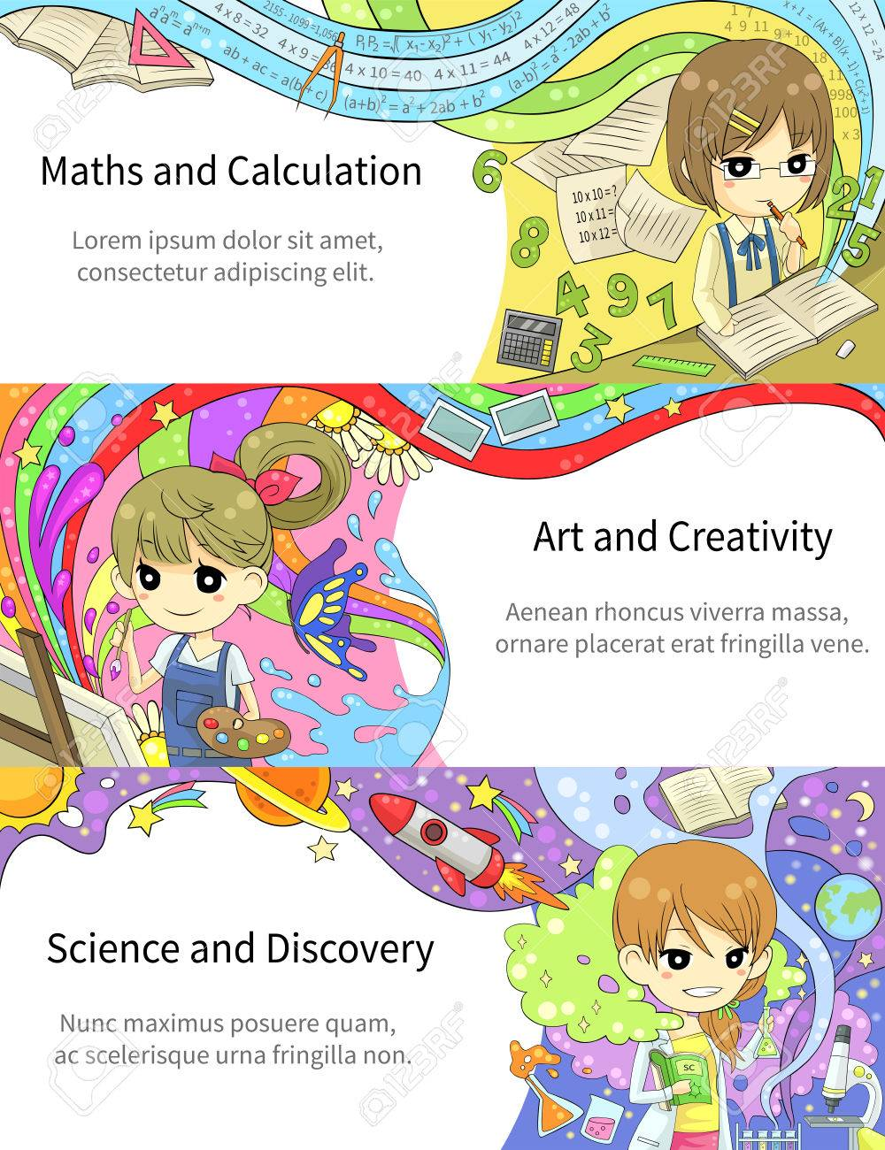 Stylish Colorful Infographic Cartoon Girl Children Studying Maths ...