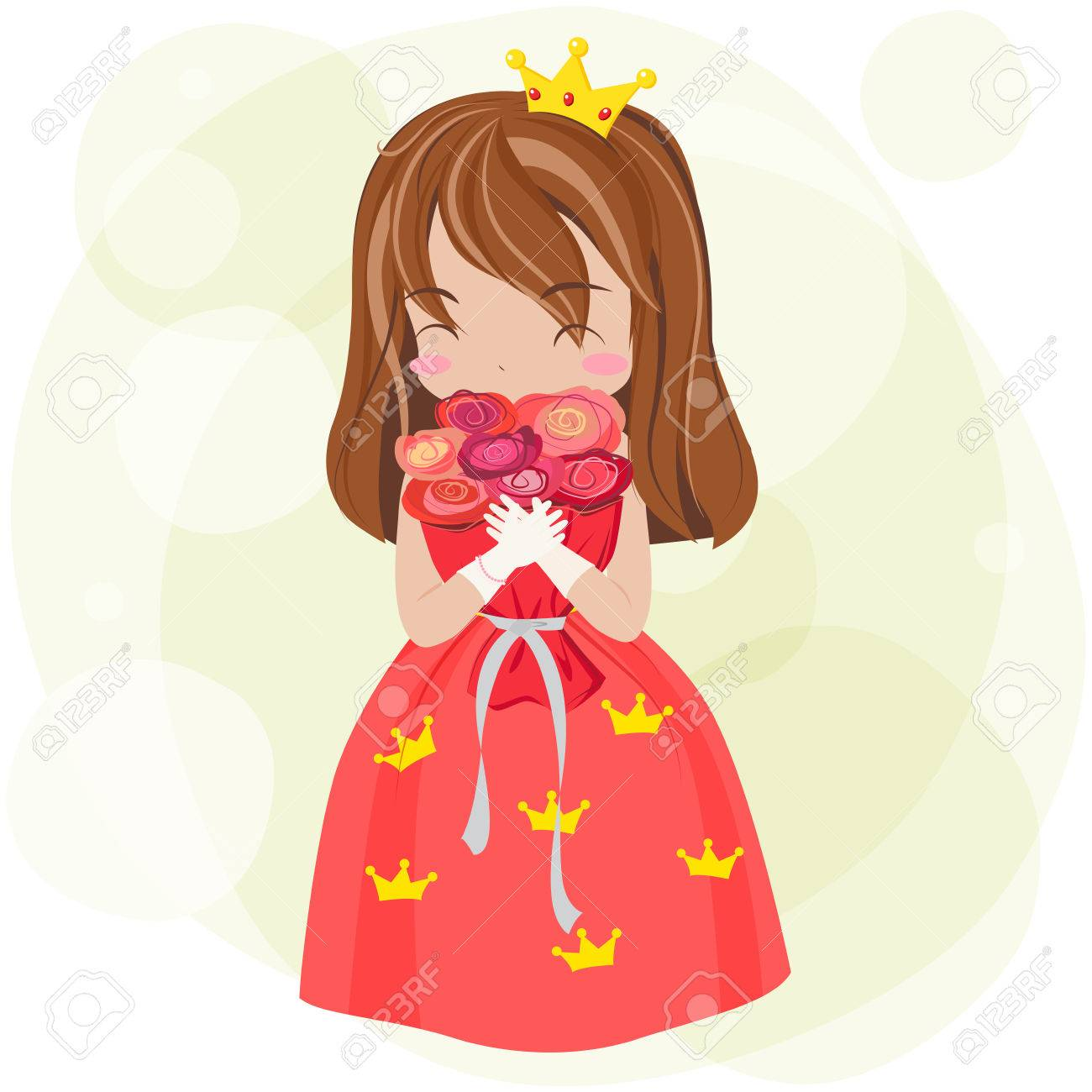 Cute Cartoon Princess With Red Dress And Crown Is Showing Happy Royalty Free Cliparts Vectors And Stock Illustration Image 42210450 Crown icon, golden crown, gold crown illustration png clipart. cute cartoon princess with red dress and crown is showing happy