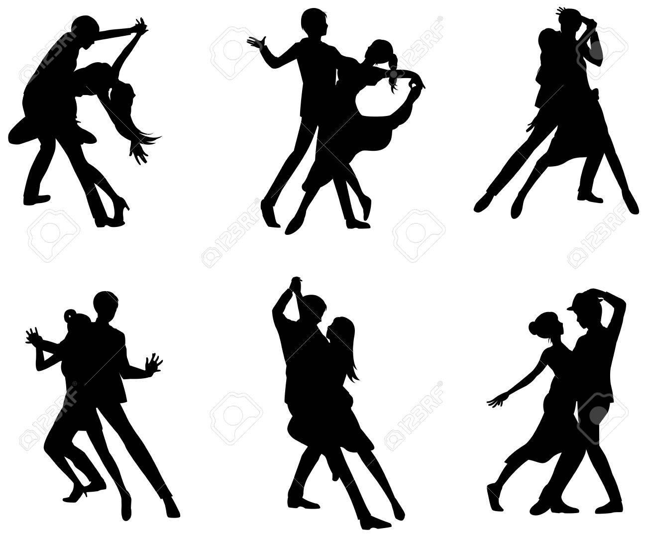 Ein Cartoon-Silhouette Illustration Zeichnung Icon-Set Von Tanzpaar ...