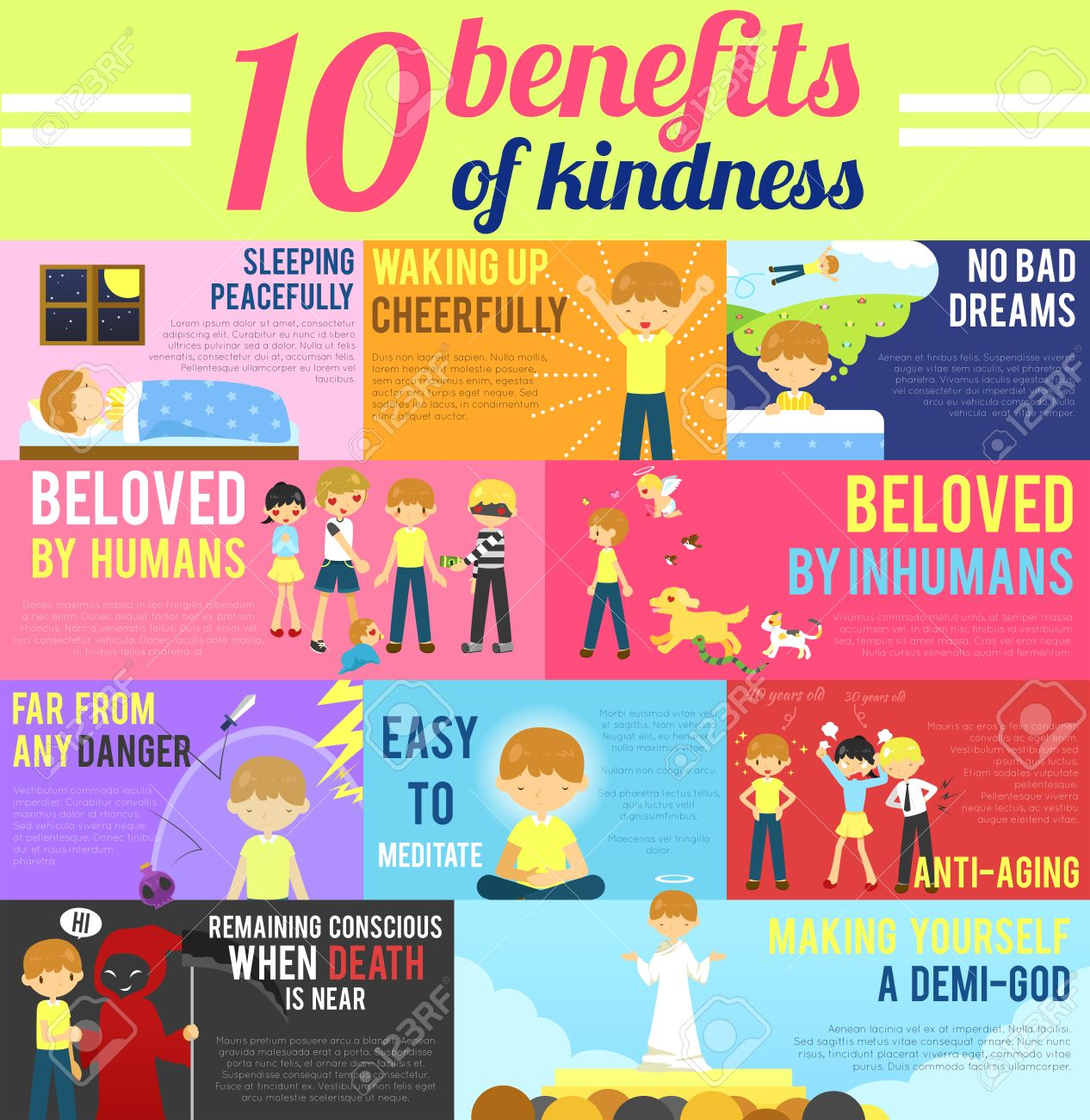 10 benefits advantage of love and kindness in cute cartoon infographic banner template layout background design for self-improvement education, religion, and morality purpose, create by vector - 45153232