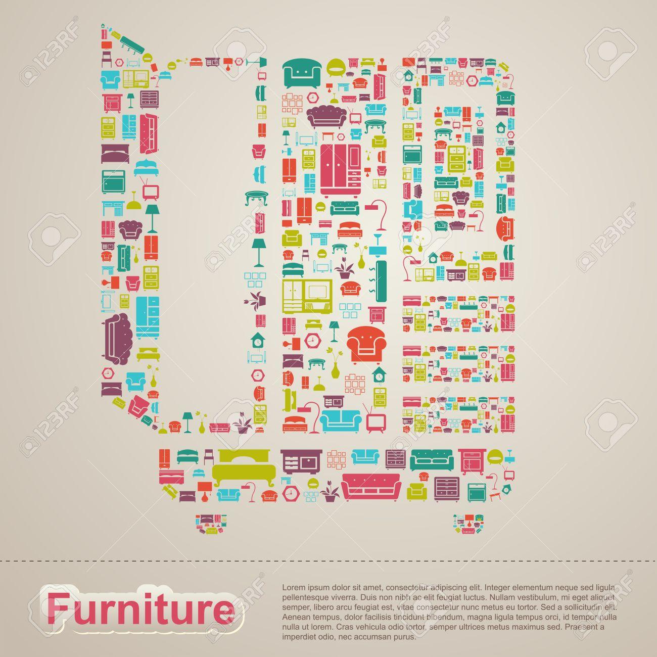 Wohnung Infografik Hausgeräte Möbel Icon Template Banner Layout ...