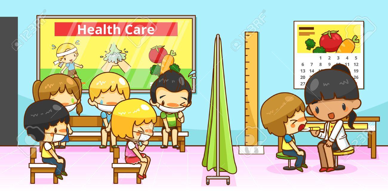 Exceptionnel Cartoon Médecin Ou Pédiatre Médecin Diagnostique Groupe D'enfants  DV05