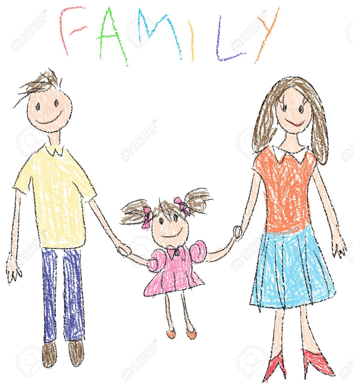 drawing of a happy familiy with child and her parents in kindergarten style stock photo - Drawing Pictures For Kindergarten