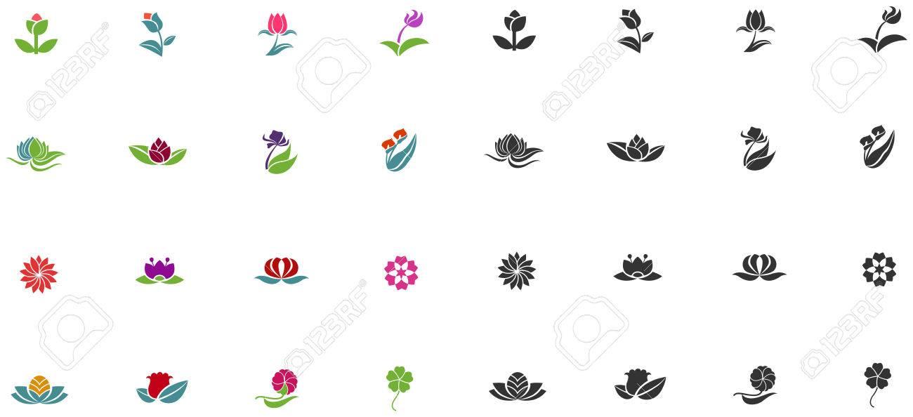 Silueta Y Color Fantasía Logotipo De Forma De La Flor De Loto Como ...