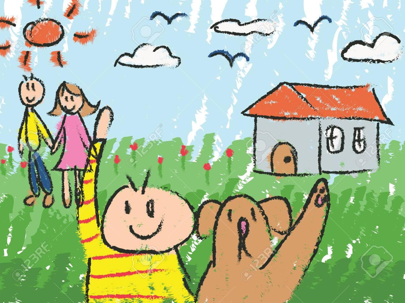 Kindergarten children color doodle drawing sketch of cartoon..